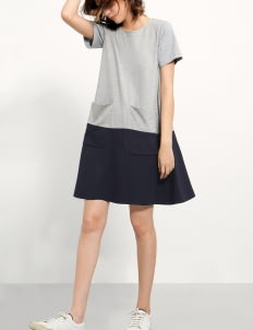 Saturday Club Grey Dress With Contrast Skirt & Front Pockets
