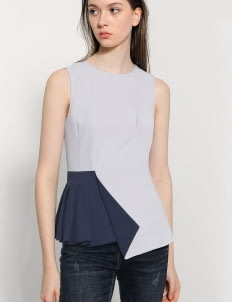 Saturday Club Grey Asymmetric Origami Top