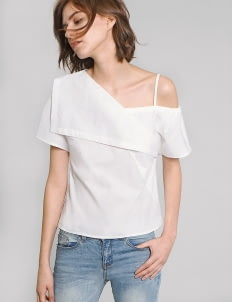 Saturday Club White One Shouldered Woven Top