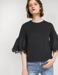 Saturday Club Black Trumpet Sleeve Top With Lace Trim
