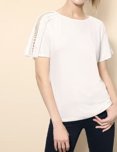 Saturday Club White Boat Neck T-shirt With Lace Trim