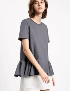Saturday Club Grey Cotton Jersey T-shirt With Gathered Hem