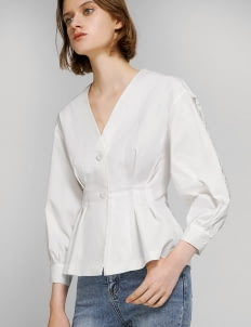Saturday Club White Box Pleated Waist Top With Lace Back