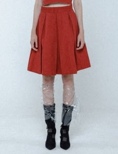 Mera Mera Studio Red Paige Box Pleated Skirt