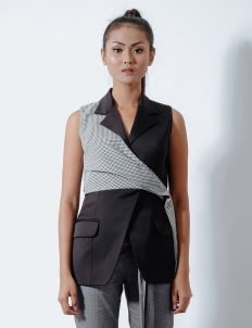 Reves Studio Houndstooth Drape Vest - Black & Blue