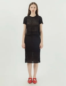 Callie Cotton Aster Knit Set - Black