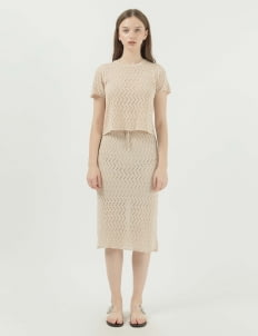 Callie Cotton Aster Knit Set - Beige
