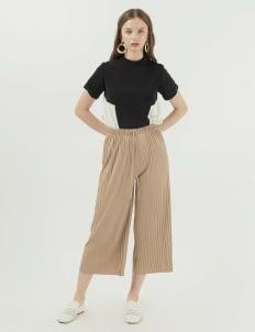 Callie Cotton Ginger Pleats Pants - Beige
