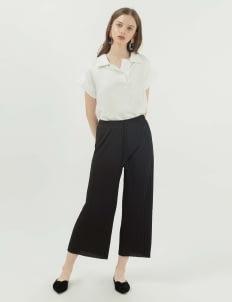 Callie Cotton Ginger Pleats Pants - Black