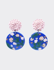 Mita Jewelry Cotton Wood Earrings - Navy & Soft Pink