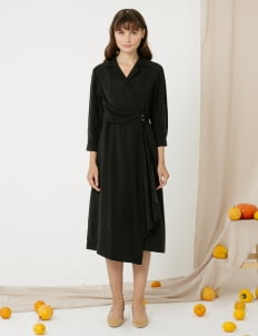 CLOTH INC Overlap Drapery Midi Dress - Black