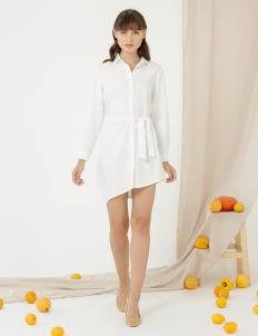 CLOTH INC Asymmteric Tied Shirt Dress - White