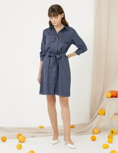 CLOTH INC Contrast Stitch Shirt Dress - Navy