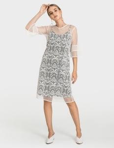Warangka Batik Oslo Tulle Dress - Gray