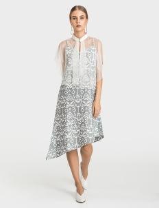 Warangka Batik July Asymmetric Tulle Dress - Gray