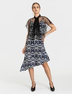 Warangka Batik July Asymmetric Tulle Dress - Navy