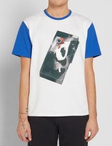 Acne Studios White Contrast Collar with Radio Print T-Shirt
