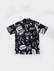 Scissors Paper Rock SCENE 6 Panama Shirt - Black