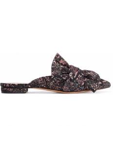 Schutz D'ana Bow-Embellished Jacquard Slippers - Black