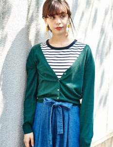 E-hyphen World Gallery by Stripe Japan Yuko Cardigan - Green