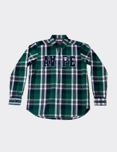 AAPE Green Checkered Flannel Shirt
