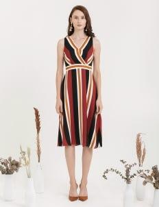 CLOTH INC Twain Stripe Overlap Dress - Multi Stripe