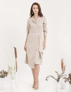 CLOTH INC Overlap Drapery Midi Dress - Light Beige