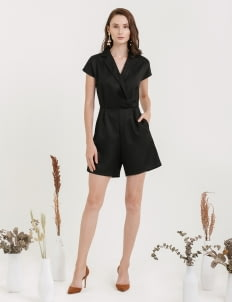 CLOTH INC Overlap Playsuit with Collar - Black