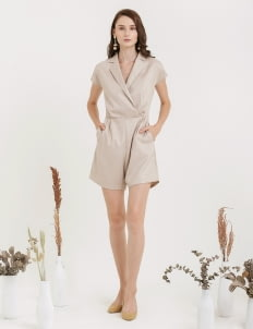 CLOTH INC Overlap Playsuit with Collar - Light Beige