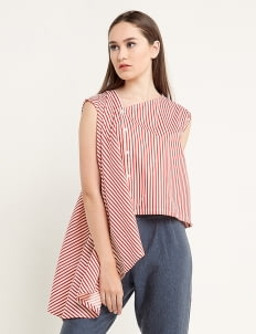 Ree One Side Big Stripe Drapes Blouse - Red & White