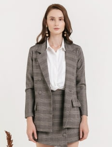 CLOTH INC Fig Wool Blazer - Checkered Gray
