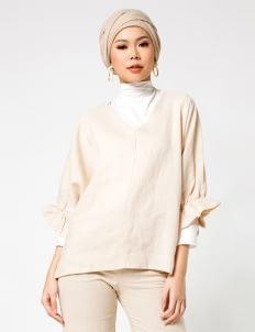 Sayee Byul Bubble Sleeved Top - Beige