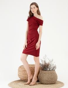 CLOTH INC Micah Pleat Dress - Maroon