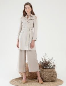 CLOTH INC Cold Shoulder Coat - Creme