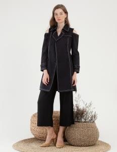 CLOTH INC Cold Shoulder Coat - Navy