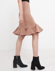 Seam Emma Ruffle Skirt - Nude