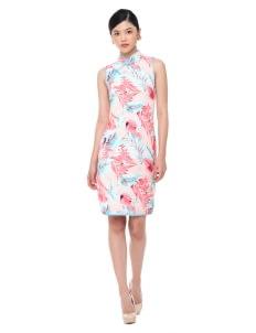 Mandarin Peony Cheongsam Flamingo Dress - Pink