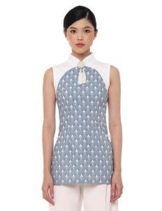 Mandarin Peony Cheongsam Pixie Top - Blue