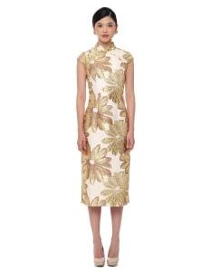 Mandarin Peony Cheongsam Goldoelocks Dress - Gold