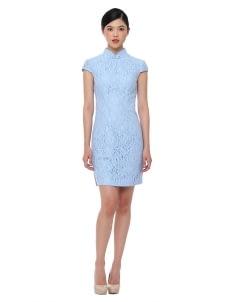 Mandarin Peony Cheongsam Arctic Dress - Blue