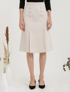 CLOTH INC Button Pleat Midi Skirt - Creme