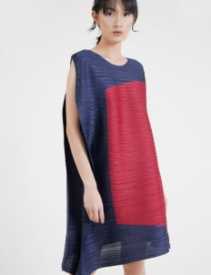 BOWN Megan Pleated Dress - Navy & Maroon