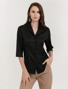 CLOTH INC Linen Collar Shirt - Black