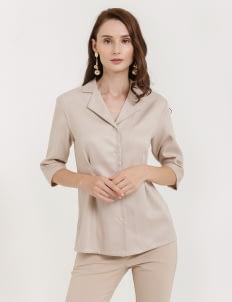 CLOTH INC Linen Collar Shirt - Light Beige