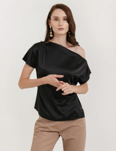 CLOTH INC Sabina One Shoulder Top - Black