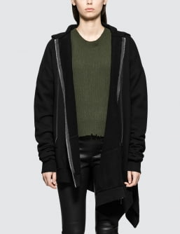 Unravel Project Terryb Asymm Hoodie Zip Cape