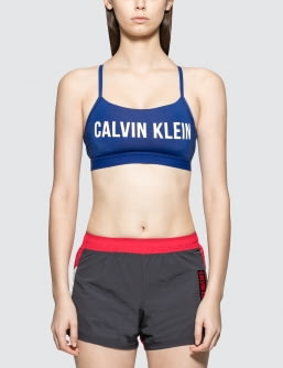 Calvin Klein Performance Strappy Bra Top With Upper Color Panel