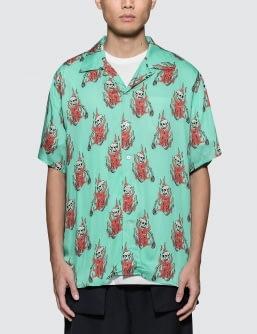 SSS World Corp Flaming Skeleton Hawaiian Shirt