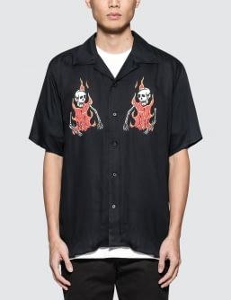 SSS World Corp Double Flaming Skeleton Hawaiian Shirt