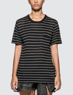 Alexander Wang.T Thin Striped Slub Short Sleeve T-shirt With Pocket